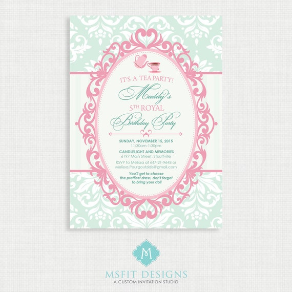 Tea Party Birthday Invitation- Tea Party Birthday Printable,  Birthday Party Invitations, DIY,  Vintage Tea Party