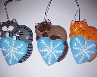 Orange Tabby Cat Ornament, Icy Blue Snowflake with the Christmas Cat or your choice, Gray Tabby, Siamese and more