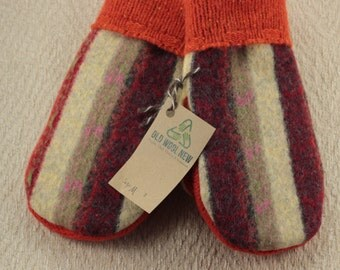 Upcycled Wool Sweater Mittens, Medium Women's   Yellow, Red and Orange Mittens, OldWoolNew, Up-cycled Mittens Sweater Mittens