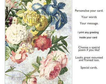 Flowers in art card, Floral card, Personalised card, Greeting Card, handmade birthday card, Anniversary card,  Handmade Card,  'Flourish',
