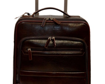 Leather trolley travel bag dark brown overnight leather bag with two wheels leather cabin luggage airplane carryon airplane bag