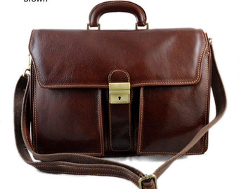 Leather briefcase business bag conference bag satchel office bag shoulder folder shoulder bag mens executive briefcase brown
