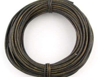 Military Green Round Leather Cord 2mm 25 meters (27.34 yards)