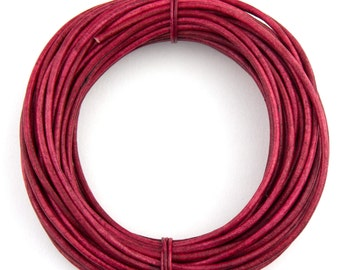 Pink Fuchsia Natural Dye Round Leather Cord 2mm - 10 Feet