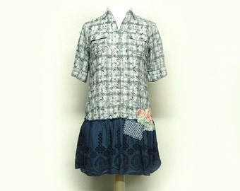 Medium Boho Shabby Chic Dress Navy Blue Shift Dress with Cotton Ruffle Women's Upcycled Clothing by Primitive Fringe