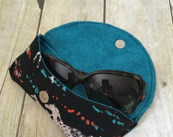 Eyeglass case | Suglasses case | Soft glasses case |  Horse lover gifts | Case for glasses | Southwestern accessory | Aqua horses