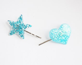 Set of 2 Blue Glitter Heart and Star Bobby Hair Pins