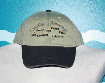 Embroidered grandparent blessings hat - pop-pop's blessing with cross and custom names - grandad base ball hat - custom blessings hat