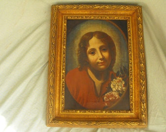 School of Carlo Dolci Antique 17th C Oil on Canvas Portrait Painting Young Jesus