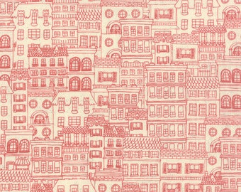 1/2 Yard - Mon Ami Fleur Moi Creme Rouge Red Fabric by Basic Grey - 30416 11