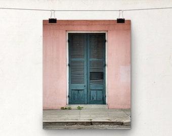 Door Photograph, NOLA Architecture, Pink Blue, Concrete, New Orleans