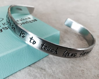 Sale personalized cuff bracelet to teach is to touch lives forever teacher gift