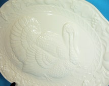 Turkey Platter, Creamy White, large 17.5 by 14 inches, ceramic, made in Japan