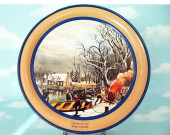 Vintage Currier and Ives Round Holiday Tin, Winter Evening, collectible tin, Schwan's Limited Edition decorative tin