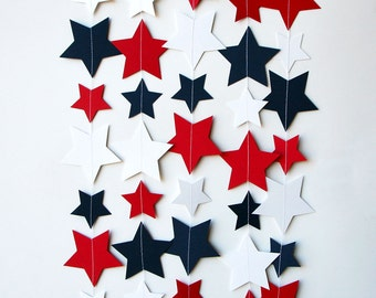 Star garland, 4th of July garland, 4th of July decor, Red white blue, Paper garland, Patriotic decor, 4th of July banner, KE-0100