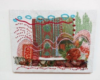 Red Roses, wall hanging, hand embroidery, fiber art, mixed media OOAK