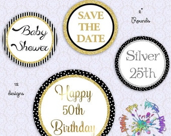 "Black Gold Silver Glitter 2"" Circles 