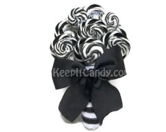 Black and White Lollipop Wedding Bouquet, Bridal Bouquet, Black Bouquet, wedding, Candy Wedding, Candy Bouquet, Rehearsal, Bouquet, Black