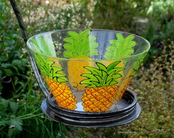 Pineapple Glass Bowl - Hand Painted Glass Pineapple Bowl