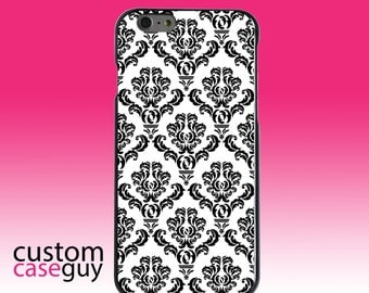 Hard Snap-On Case for Apple 5 5S SE 6 6S 7 Plus - CUSTOM Monogram - Any Colors - White Black Damask Pattern