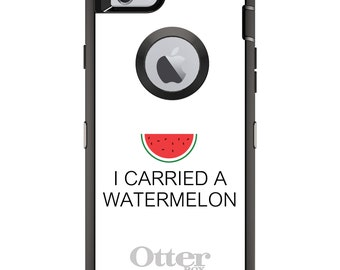 Custom OtterBox Defender Case for Apple iPhone 6 6S 7 8 PLUS X 10 - Personalized Monogram - I Carried A Watermelon