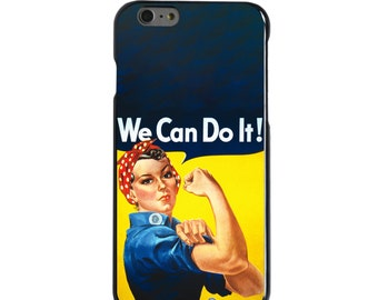 Hard Snap-On Case for Apple 5 5S SE 6 6S 7 Plus - CUSTOM Monogram - Any Colors - Rosie the Riveter