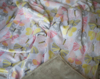 """Large Baby Toddler Butterfly Minky Blanket (42x48"""")"""
