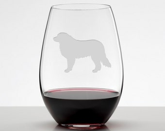 Great Pyrenees, Etched Stemless Wineglass, Dog Lover Gift, Great White Pyrenees