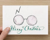 "Clever Minimalist Harry Potter Christmas Card // ""HARRY CHRISTMAS""  //  Single Cards and Boxes Available"
