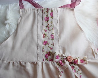Adult Pink Floral Linen Apron with Wooden Button