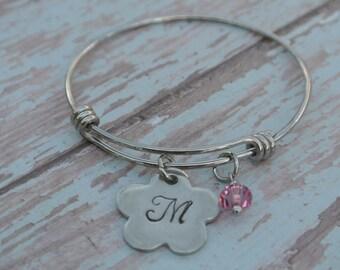 Little Girl Bracelet // flower gift bracelet // child's stainless steel adjustable bangle // Birthstone bracelet // Flower girl gift