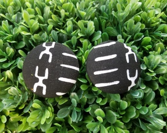 Bone- Large Handmade Fabric Button Earrings