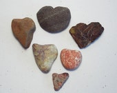 6 REDDISH SMALL HEART Stones Valentine Natural Love Gifts Rustic Wedding Decor Heart Shaped Rocks