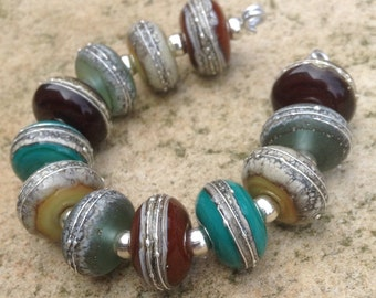 Organics with Pure Silver Lampwork Glass Bead Set