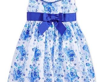 Girls' Blue Floral-Print Dress;  ruffled neckline dress