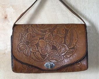 Vintage 1970s Distressed Cognac Brown Hand Tooled Leather Top a Handle Clutch Hand