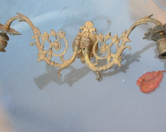 2pcs French antique Signed 18th century solid bronze gold gilt  piano candle holder mythology ornate wall light dragon chemira  candelabras