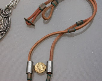2pcs vintage  ethnic jewelry large ethnic nacklace leather bronze engraved sun moon eye cross metal necklace