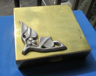 Vintage Metal Square Felt Lined Box TLC