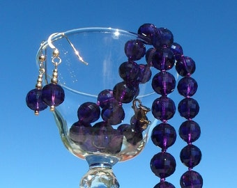 Genuine amethyst necklace and earring set.