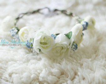 FLOWER CROWN/ HALO/ Head Wreath/ Bridal/ Photography Prop, Woodland Grapevine Floral Crown Ivory,  Blue