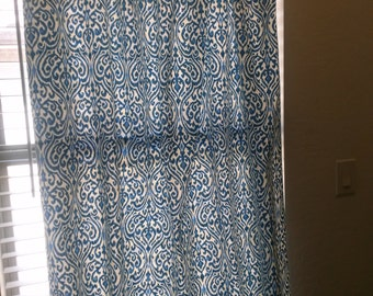 Srilanka Indigo Fabric Window Treatment Curtain Rod Pocket Draperies Handmade Curtains