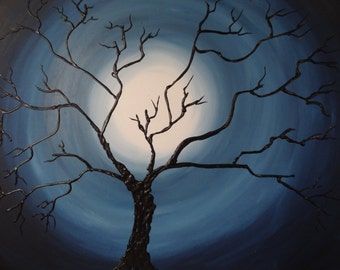 Ancient Tree on Blue Moonscape - Original Acrylic Painting