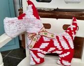 Rare Red Vintage Chenille designer cotton Scottish Terrier Westie Scottie pillow/softie