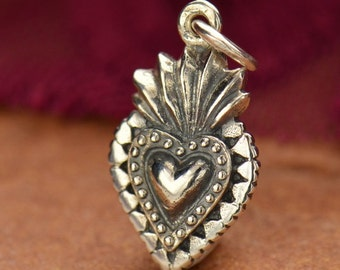 Sterling Silver Sacred Heart Charm