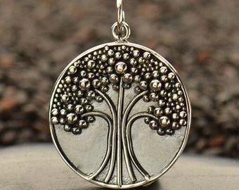Sterling Silver Tree of Life with Granulation Pendant - Family -Strength