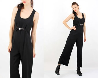 90s Black Jumpsuit / Grunge Jumpsuit / France / Black Jumpsuit / Evening Jumpsuit /  Made in France