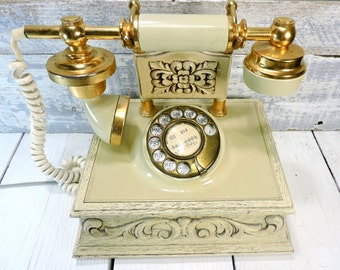 Old French Phone Ornate Rotary Telephone Vintage Gold & Beige French Victorian Princess Style Rotery Phone Vintage Electronics