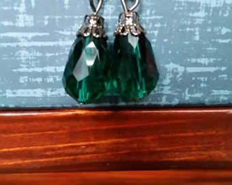 Emerald Bead Drop Earrings