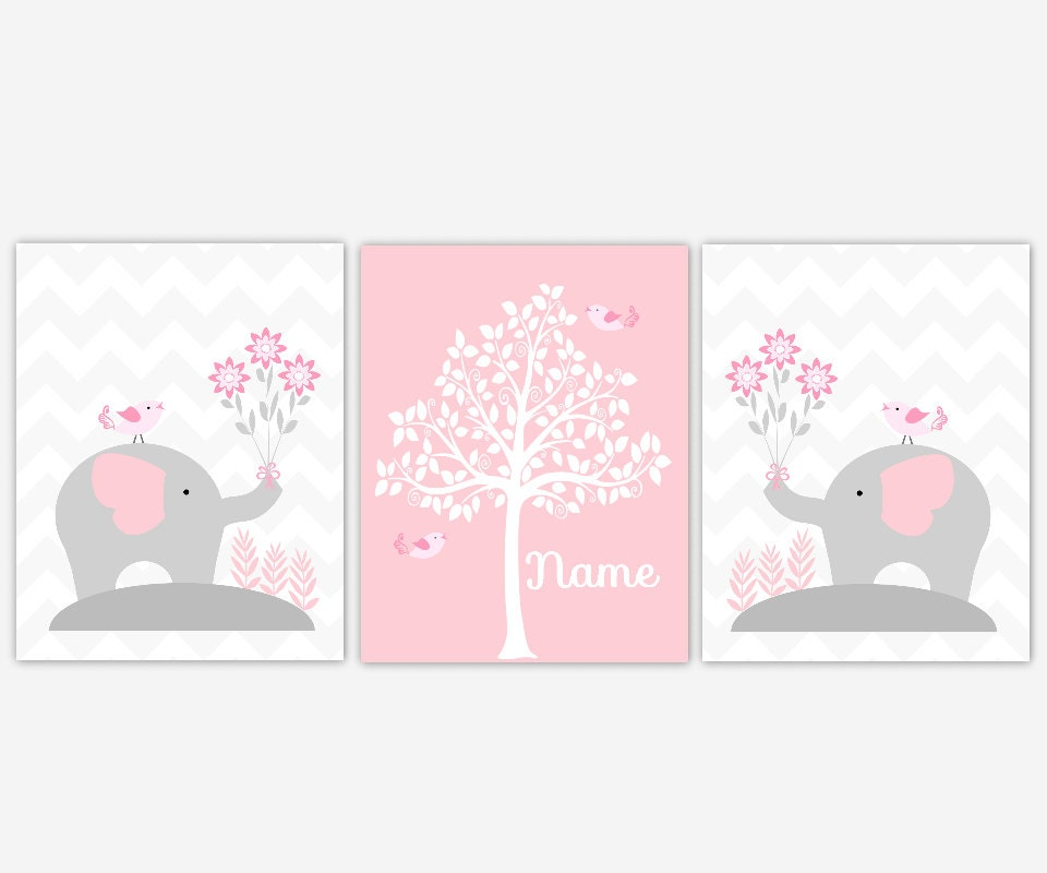 Baby nursery wall decor pink gray grey elephants personalized for Pink wall art
